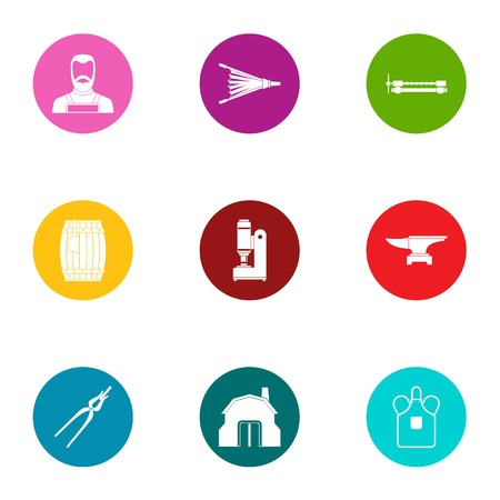 Plot icons set, flat style