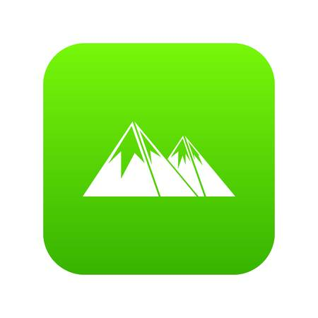 Mountains with snow icon digital green