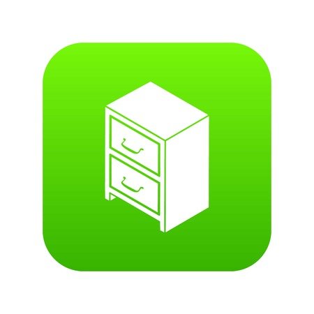 Office chest of drawers icon green vector Illustration