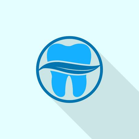 Leaf on tooth  icon, flat style Illustration