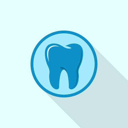 Tooth on circle  icon, flat style