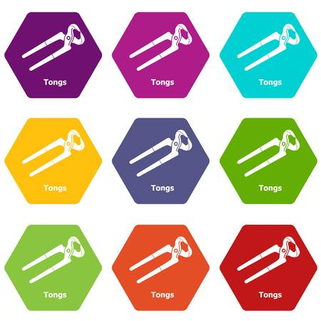Tongs icons set 9 vector Stock Illustratie