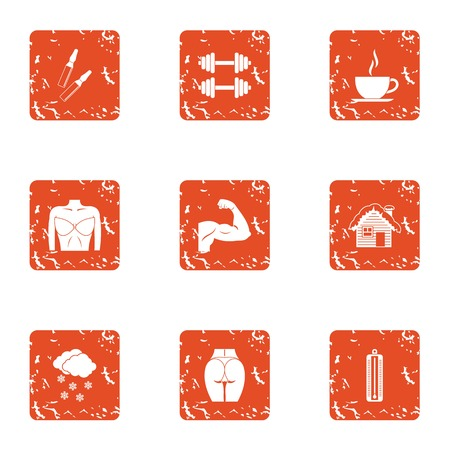 Strength of the body icons set, grunge style Stock Illustratie