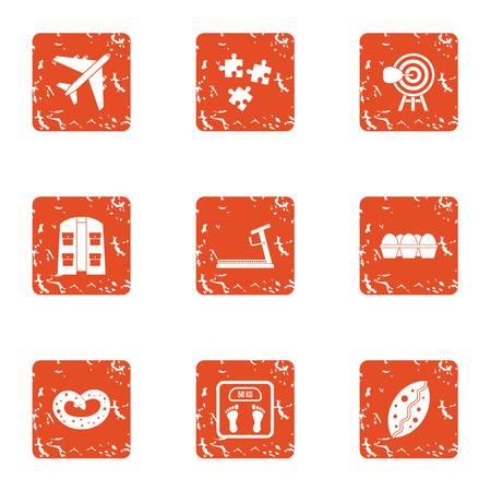 Different icons set, grunge style Illustration