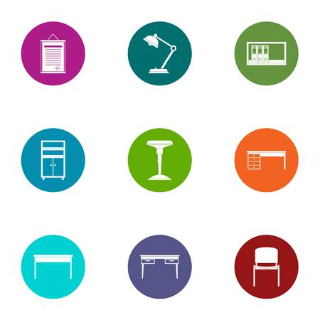 Working place icons set, flat style