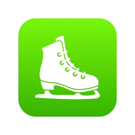 Skates icon digital green Stock Illustratie