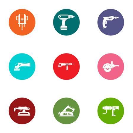 Operating tool icons set, flat style