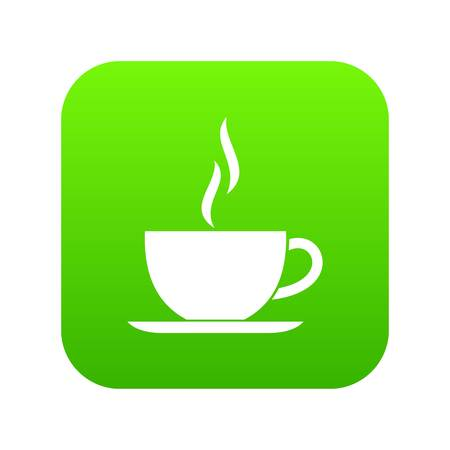 Cup of hot drink icon digital green Иллюстрация
