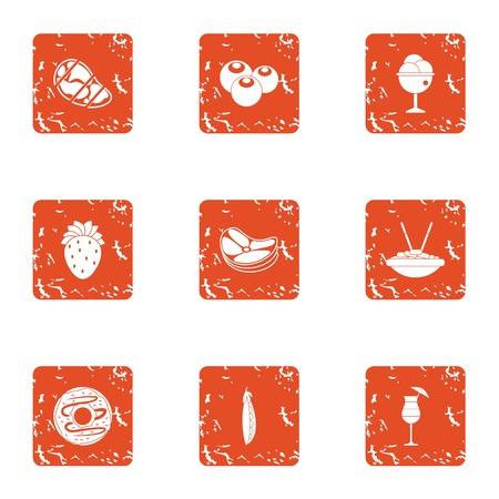 Feedstuff icons set, grunge style 일러스트