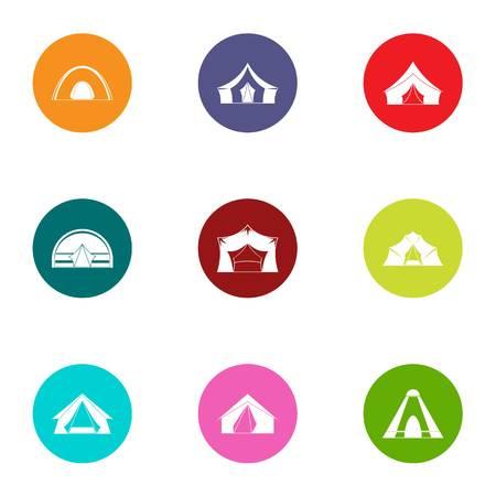 Tabernacle icons set, flat style 向量圖像