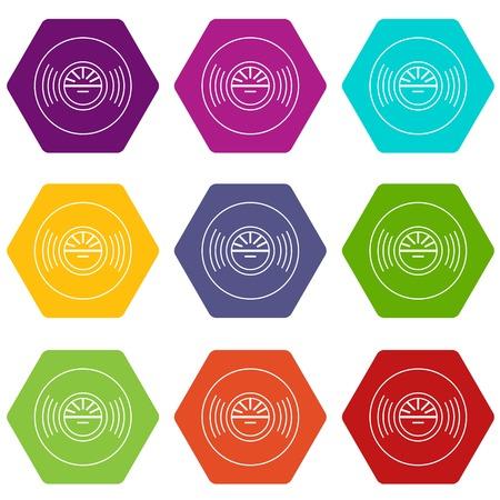 Vinyl record icons set 9 vector