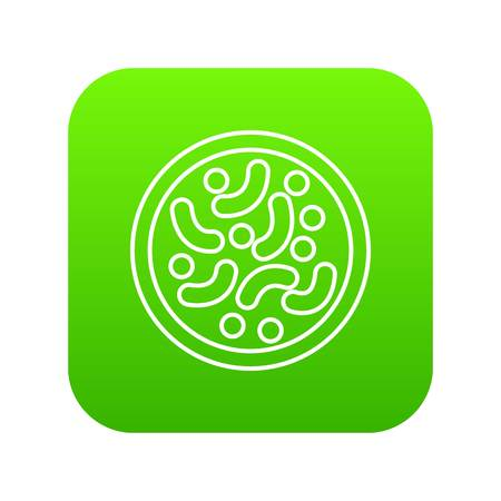 Microscopic bacteria icon green vector isolated on white background