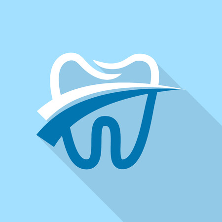 Dental tooth icon, flat style Standard-Bild - 101852788