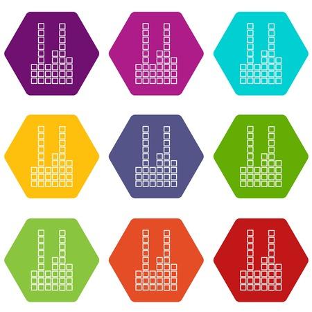 Equalizer icons set 9 vector Illustration