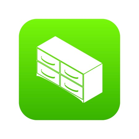 Chest of drawers icon green vector Illustration