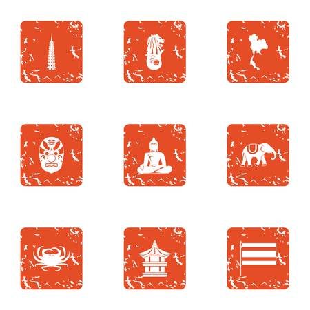 Public prayer icons set, grunge style