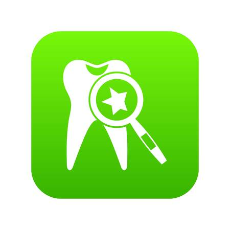 Tooth with magnifying glass icon digital green