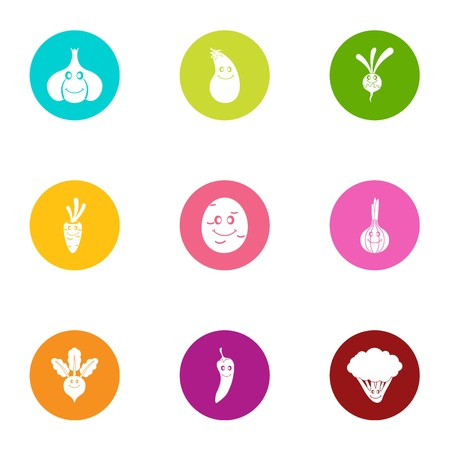 Pickle icons set, flat style Illustration
