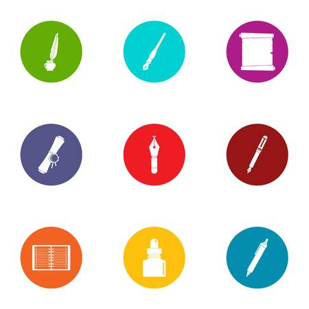 Scribe icons set, flat style