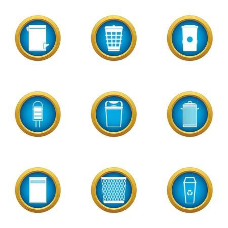 Place for garbage icons set, flat style