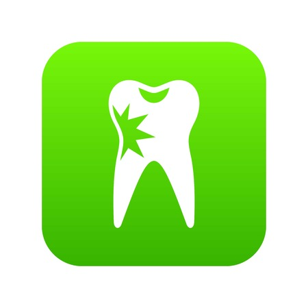 Cracked tooth icon digital green