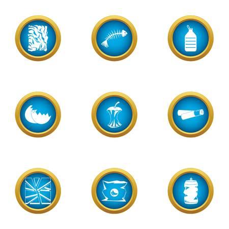 Rubbish heap icons set, flat style Illustration