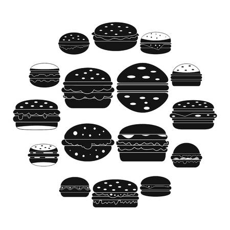 Burger icons set, simple style 向量圖像