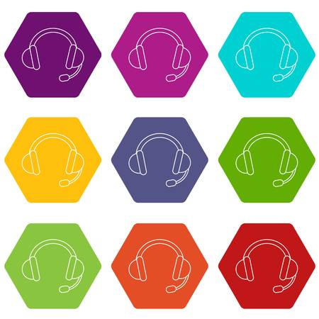 Headset icons set 9 vector