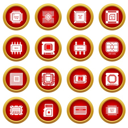 Computer chips icons set, simple style