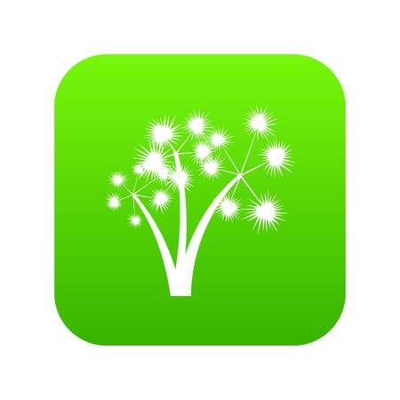 Three spiky palm trees icon digital green