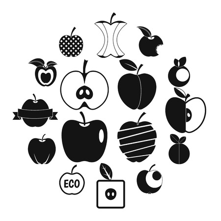 Apple icons set design simple style Illustration