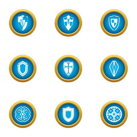 Buckler icons set, flat style