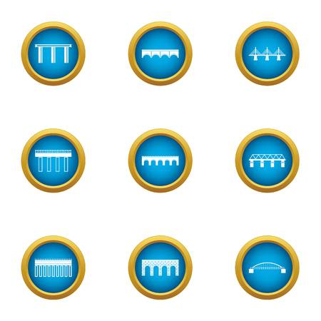 Overpass icons set, flat style