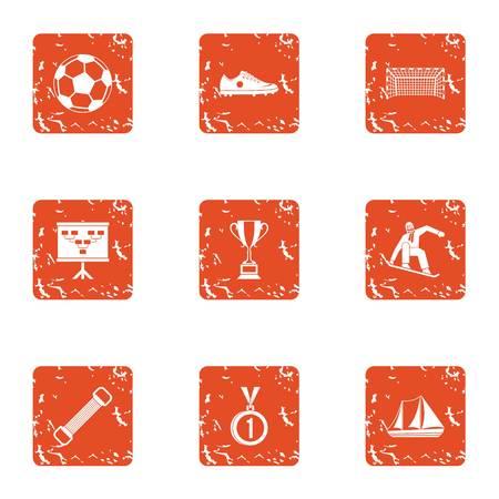 Soccer icons set, grunge style