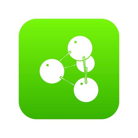 Pyramide molecule icon green vector Illustration