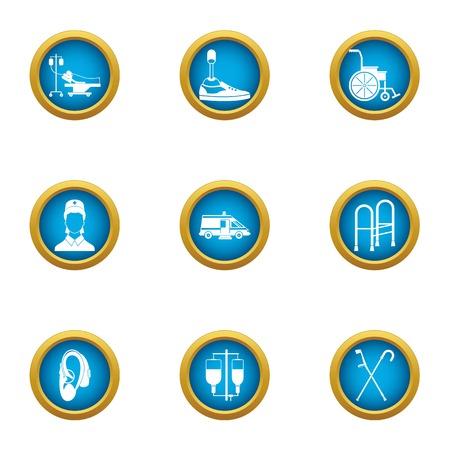 Vet icons set, flat style