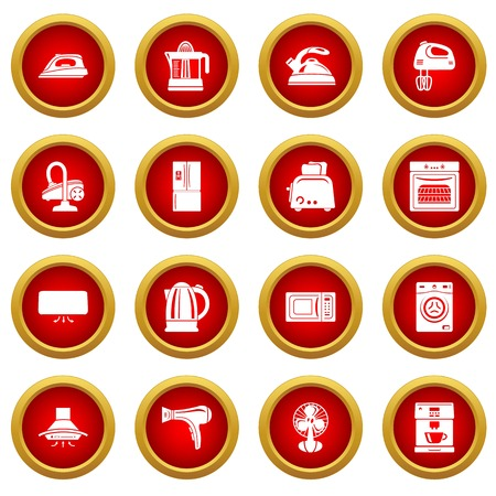 House appliance icons set, simple style