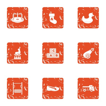 Children nature icons set, grunge style