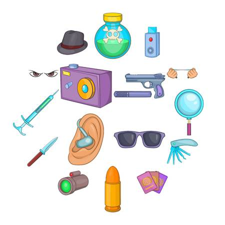 Spy and security icons set, cartoon style Vectores