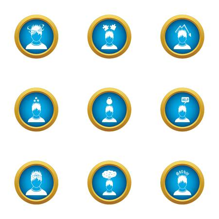 Emotional connection icons set, flat style