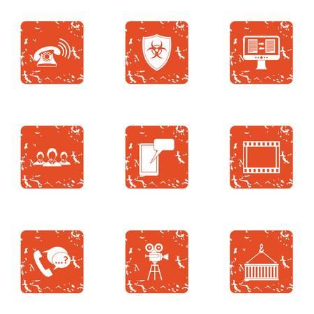 Inform icons set, grunge style