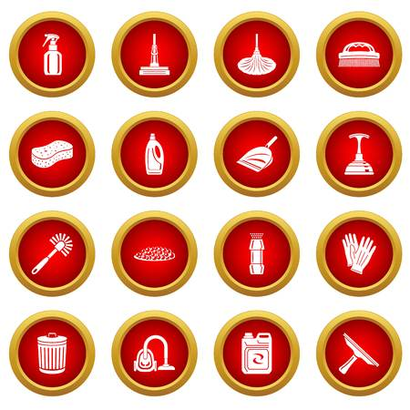 Cleaning icons set, simple style Stok Fotoğraf - 101856525