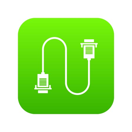 Cable wire computer icon digital green Illustration