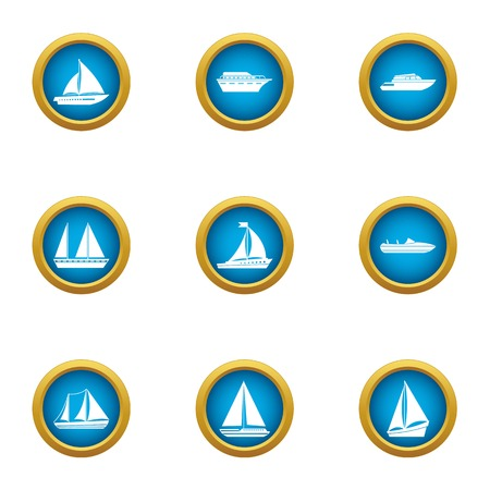 Steamboat icons set, flat style