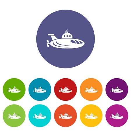 Oval submarine icons set vector color