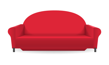Red sofa mockup, realistic style