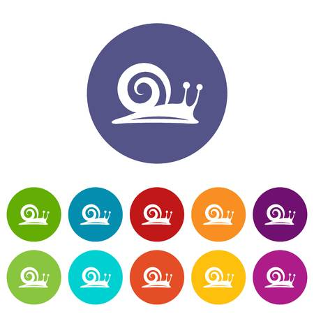 Snail icons set vector color