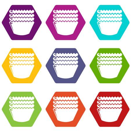 Baking molds icons set 9 vector 向量圖像