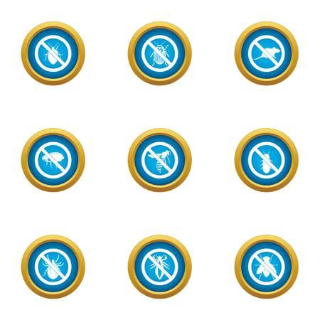 Against icons set, flat style Illustration
