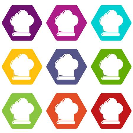 Chef hat icons set 9 vector